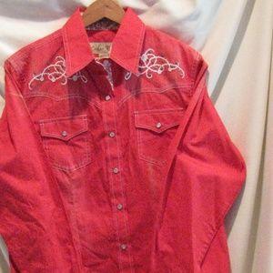 Cedar Rose Western Embroidery Long Sleeve Shirt